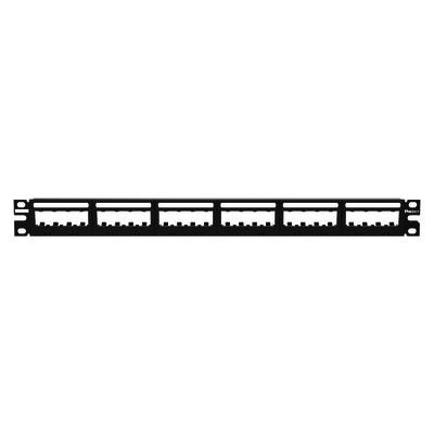 PANDUIT - UICMPP24BLY - Panel de Parcheo Modular Mini-Com (Sin Conectores) Ultimate ID® Plano Sin Blindaje Con Etiqueta y Cubierta de 24 puertos 1UR