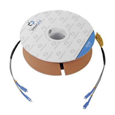 LINKEDPRO - EF-50M - Carrete de Fibra Óptica Monomodo con conectores SC-SC Duplex Reforzada con Kevlar de 50 metros