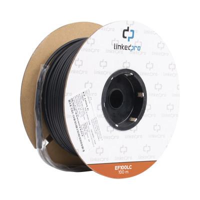 LINKEDPRO - EF-100-LC - Carrete de Fibra Óptica Monomodo con conectores LC-LC Duplex Reforzada con Kevlar de 100 metros