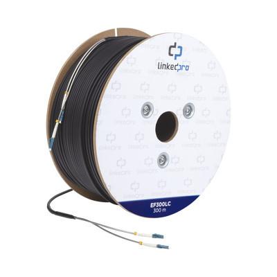 LINKEDPRO - EF-300-LC - Carrete de Fibra Óptica Monomodo con conectores LC-LC Duplex Reforzada con Kevlar de 300 metros