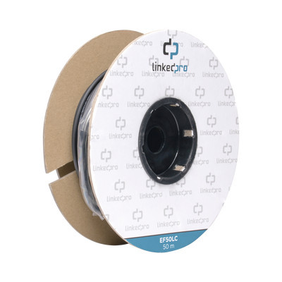 LINKEDPRO - EF-50-LC - Carrete de Fibra Óptica Monomodo con conectores LC-LC Duplex Reforzada con Kevlar de 50 metros