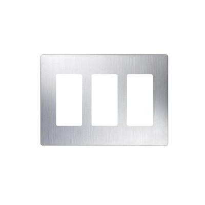 LUTRON ELECTRONICS - CW-3-SS - Placa de pared 3 espacio para atenuador (dimmer) switch ó control remoto PICO inalámbrico.