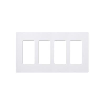 LUTRON ELECTRONICS - CW4-WH - Placa de pared 4 espacios color blanco para atenuador (dimmer) switch ó control remoto PICO inalámbrico