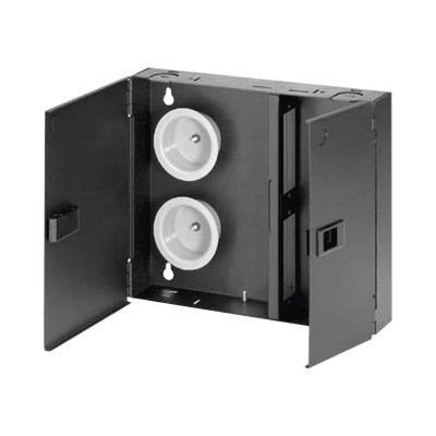 PANDUIT - FWME2 - Caja de Conexión de Fibra Óptica Para Montaje en Pared Acepta 2 Placas FAP o FMP Hasta 48 Fibras Color Negro