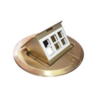 THORSMAN - TH-MCPD-B - Mini caja de piso redonda para datos o conectores tipo Keystone color bronce (3 contactos) (11000-12102)