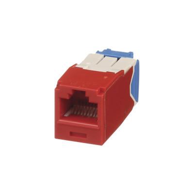 PANDUIT - CJ6X88TGRD - Conector Jack RJ45 Estilo TG Mini-Com Categoría 6A de 8 posiciones y 8 cables Color Rojo