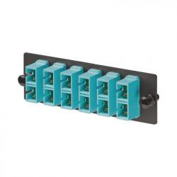 PANDUIT - FAP6WAQDSCZ - Placa Acopladora de Fibra Optica FAP Con 6 Conectores SC Duplex (12 Fibras) Para Fibra Multimodo OM3/OM4 Color Aqua