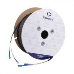 LINKEDPRO - EF-300-SC - Carrete de Fibra Óptica Monomodo con conectores SC-SC Duplex Reforzada con Kevlar de 300 metros