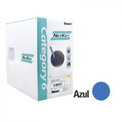 PANDUIT - NUR6C04BU-C - Bobina de Cable UTP 305 m. de Cobre NetKey Azul Categoría 6 (24 AWG) 1000Mbps Riser (CMR) de 4 pares