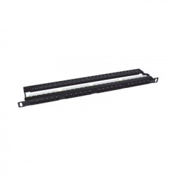 LINKEDPRO - LP-PP-CU-6A-24P - Panel de parcheo de impacto (110) sin blindaje de 24 puertos Cat6A con barra para organizar cable