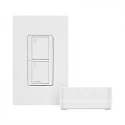 LUTRON ELECTRONICS - PBDGPKG1WS - Kit de interruptor inteligente HUB interruptor y placa. Compatible con Alexa y GoogleHome.