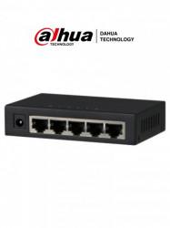 DAHUA - DRD0950004 - DAHUA PFS3005-5GT - Switch Gigabit de 5 Puertos No Administrable/ Capa 2/ 10/100/1000 Base-T/ Carcasa Metalica/ Switching 10G/ Tasa de Reenvio de Paquetes 7.44 Mbps/ Memoria Bufer de Paquetes 1Mb/ Con Proteccion de Descargas/