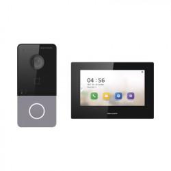 HIKVISION - DS-KIS605-PL(B) - Kit de Videoportero IP LITE con llamada a App de Smartphone (Hik-Connect) / Frente de Calle IP65 / Soporta PoE Estándar