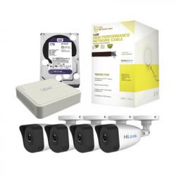HIKVISION - KHL4B/1TB - Kit IP 1080p / NVR de 4 Canales / 4 Cámaras IP / Bobina de Cable de 100 mts / Disco Duro 1 TB