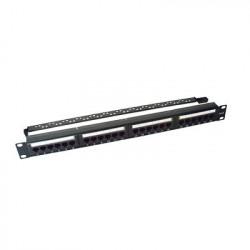 LINKEDPRO - LP-PP-607 - Panel de parcheo de impacto (110) UTP de 24 puertos Cat6 19in con barra para organizar cable