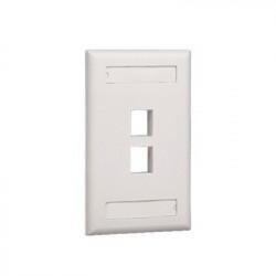 PANDUIT - NK2FWHY - Placa de Pared Vertical Salida Para 2 Puertos Keystone Con Espacios Para Etiquetas Color Blanco