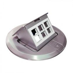 THORSMAN - TH-MCPD-A - Mini caja de piso redonda para datos o conectores tipo Keystone Color acero inoxidable (3 contactos) (11000-12202)