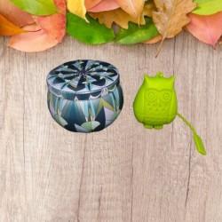 Set infuzor ceai din silicon, Bufnita + cutie pastrare ceai