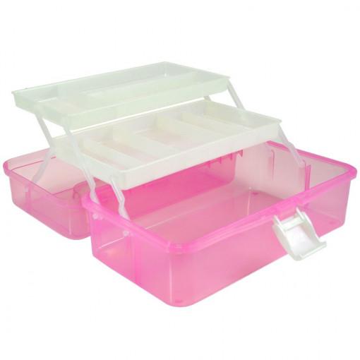 Poze Cutie transparenta manichiura cu doua sertare, roz