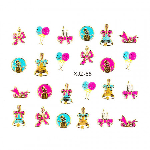 Poze Sticker 3D Unghii Adventure XJZ-58 Christmas Collection, LUXORISE
