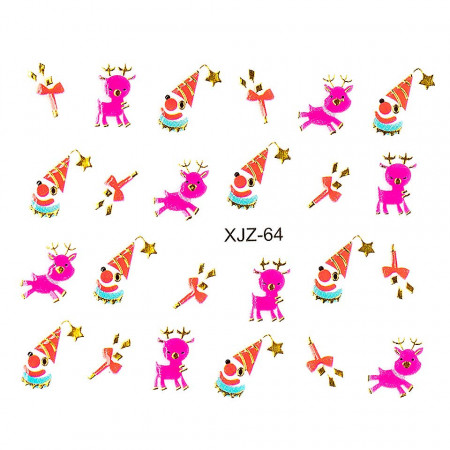 Poze Sticker 3D Unghii Adventure XJZ-64 Christmas Collection, LUXORISE