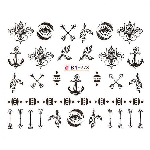 Poze Tatuaj unghii Fantasy BN-978, LUXORISE