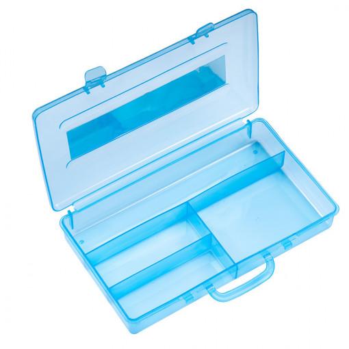 Poze Cutie Transparenta manichiura, 4 compartimente, bleu