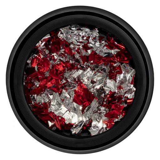 Poze Foita Unghii Unique Red & Silver #08, LUXORISE