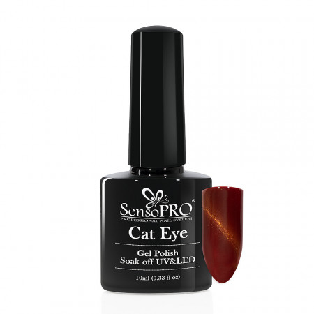 Poze Oja Semipermanenta SensoPRO Cat Eye CoralRed #025, 10ml