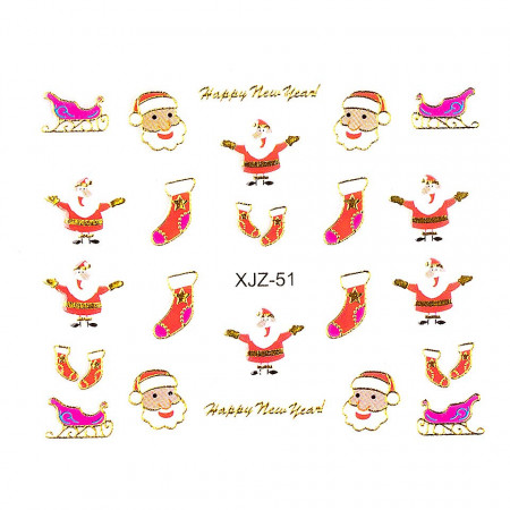 Poze Sticker 3D Unghii Adventure XJZ-51 Christmas Collection, LUXORISE