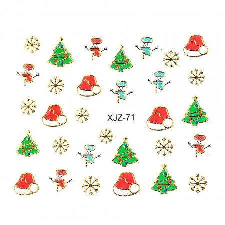 Poze Sticker 3D Unghii Adventure XJZ-71 Christmas Collection, LUXORISE