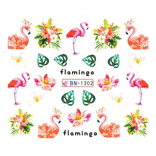 Poze Tatuaj unghii Flamingo BN-1302, LUXORISE