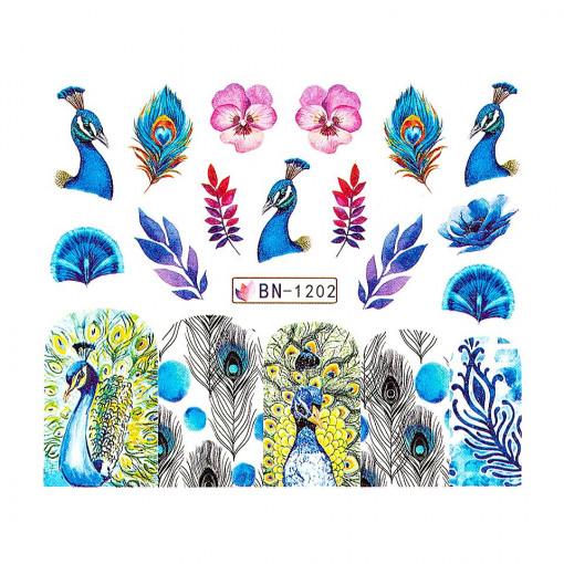 Poze Tatuaj unghii Peacock BN-1202, LUXORISE