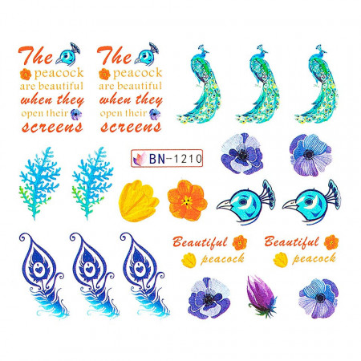 Poze Tatuaj unghii Peacock BN-1210, LUXORISE