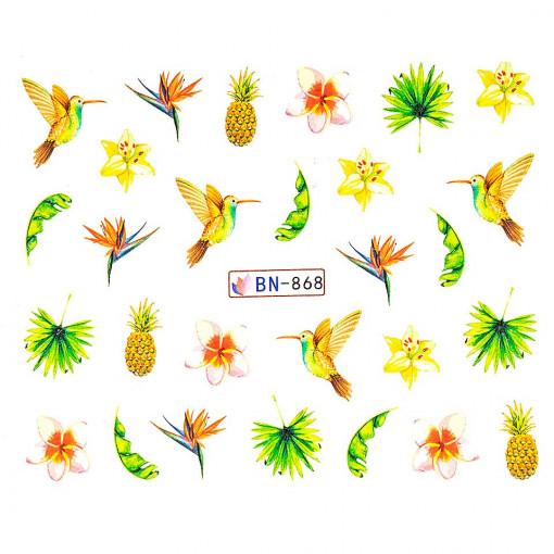 Poze Tatuaj unghii Tropical BN-868, LUXORISE