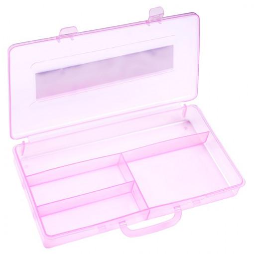 Poze Cutie Transparenta manichiura, 4 compartimente, roz