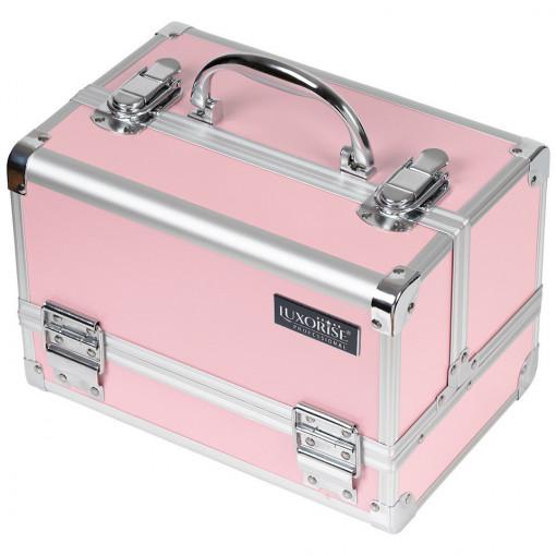 Poze Geanta Produse Cosmetice din Aluminiu cu Oglinda, Elegant Pink - LUXORISE