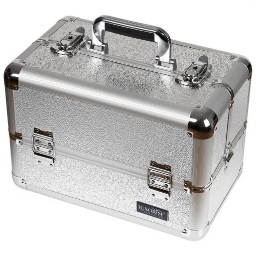 Poze Geanta Produse Cosmetice din Aluminiu, Perfect Organizer, Taupe Gray - LUXORISE