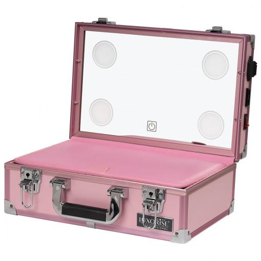 Poze Statie Makeup Portabila Profesionala Mini cu Lumini LUXORISE, Taffy Pink