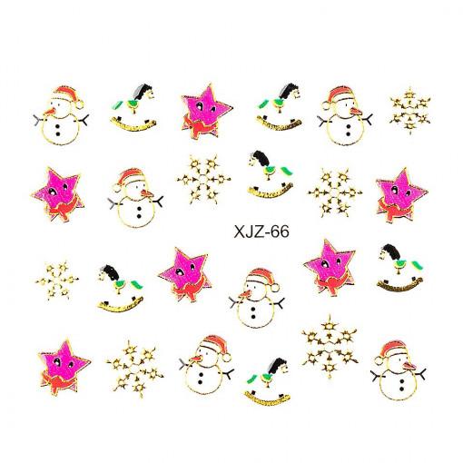Poze Sticker 3D Unghii Adventure XJZ-66 Christmas Collection, LUXORISE