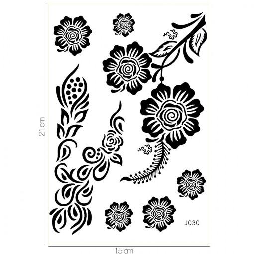 Poze Tatuaj Temporar LUXORISE Black Roses J030