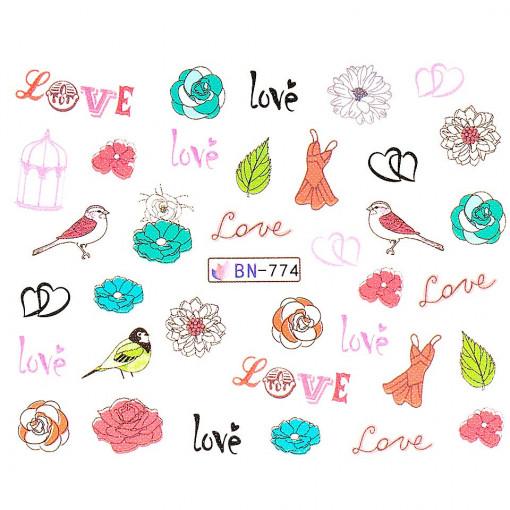 Poze Tatuaj Unghii Love BN-774, LUXORISE