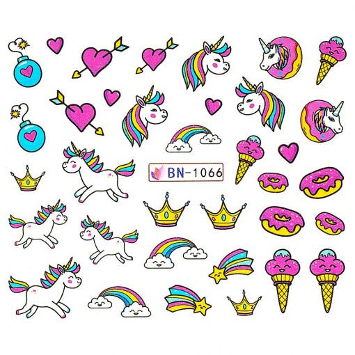 Poze Tatuaj Unghii Unicorn BN-1066, LUXORISE