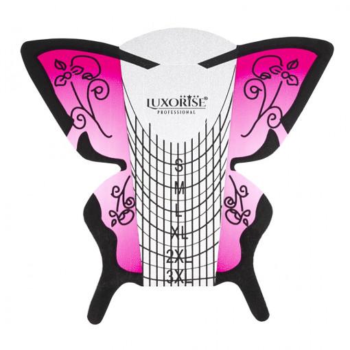 Poze Sabloane Constructie Unghii Gel LUXORISE, Pink Butterfly, 50 buc