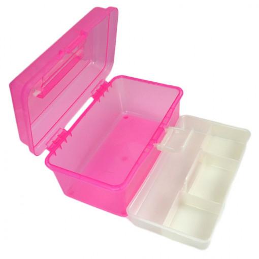 Poze Cutie transparenta manichiura cu un sertar, roz