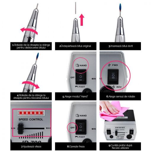 Poze Freza unghii electrica LUXORISE PRO SPEED JD700, 30.000 RPM