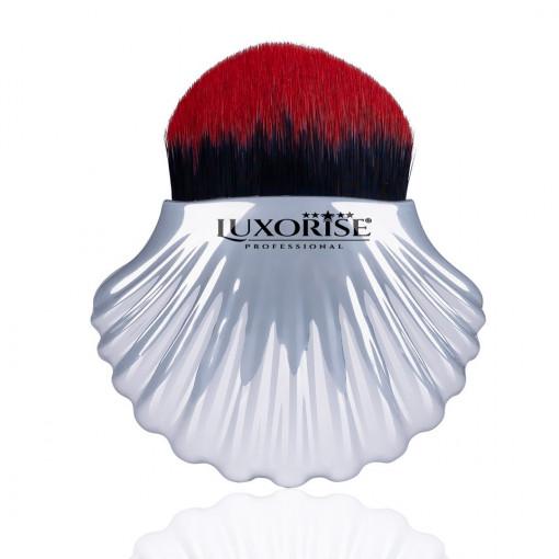 Poze Pensula Machiaj Silver Shell Red Brush LUXORISE