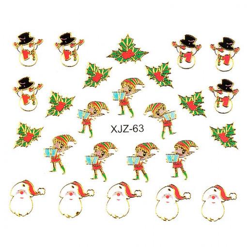Poze Sticker 3D Unghii Adventure XJZ-63 Christmas Collection, LUXORISE