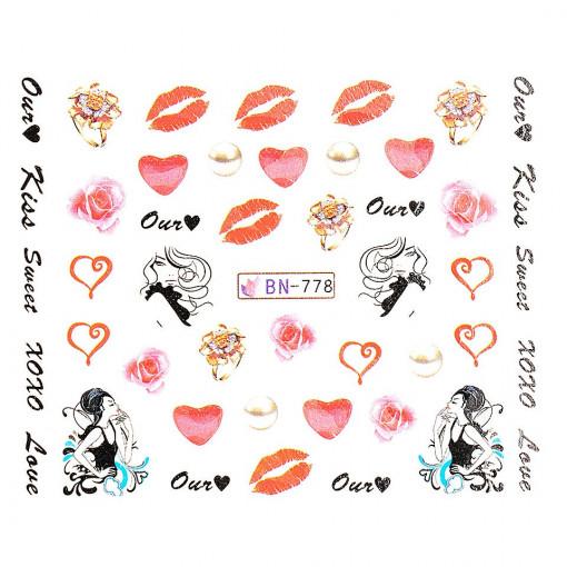 Poze Tatuaj Unghii Love BN-778, LUXORISE