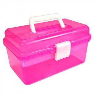 Cutie transparenta manichiura cu un sertar, roz